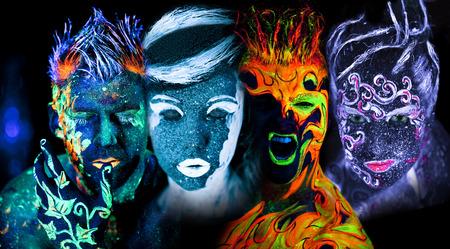 Photo pour Body art glowing in ultraviolet light - image libre de droit