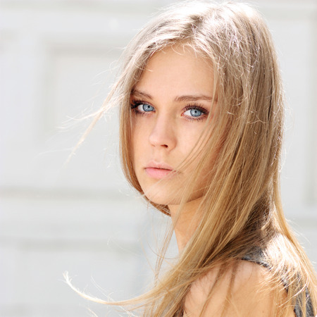 Photo for Portrait close up of young beautiful blonde woman - Royalty Free Image