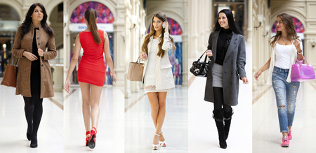 Foto de Collage five fashion young women in shop - Imagen libre de derechos