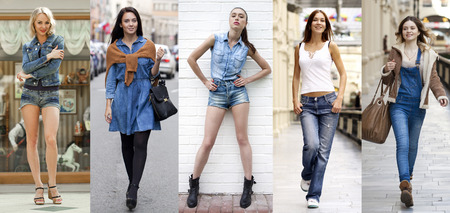 Foto de Collage Jeans Fashion. Portrait in full growth the young beautiful girls in blue jeans - Imagen libre de derechos