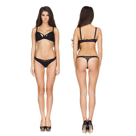 Photo pour Collage two sexy models. Full portrait of sexy brunette women in black lingerie in dark gray studio - image libre de droit