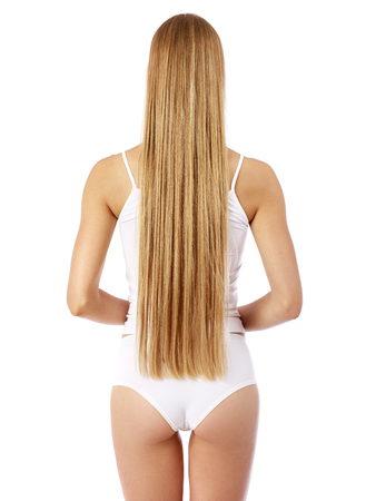 Photo pour Back view of long beautiful female blonde hair, isolated om white background - image libre de droit