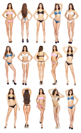 Photo for Collage, Beautiful full body brunette beauty women in sexy underwear, isolated on white background - Royalty Free Image