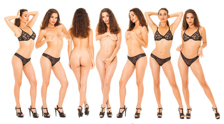 Foto de Collage sexy women. Portrait of young brunette with beautiful nude topless breasts and black underwear, isolated on white background - Imagen libre de derechos