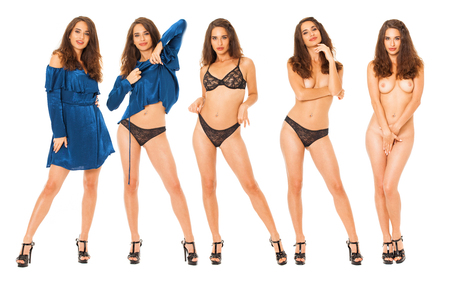 Foto de Collage fashion sexy models. Full body portrait of a beautiful brunette women, isolated on white background - Imagen libre de derechos