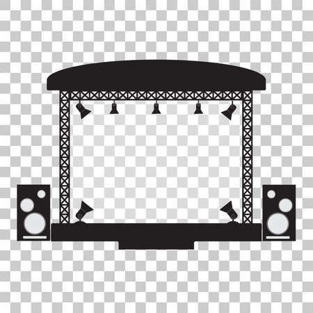 Ilustración de Concert stage and musical equipment simpl flat design. Vector illustration - Imagen libre de derechos