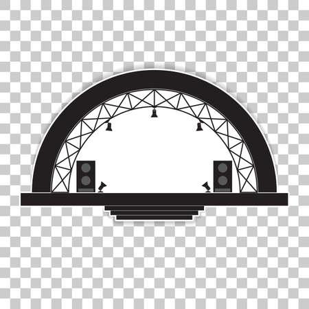Illustration for Concert stage and sound speakers. Vector illustration on a transparent background. - Royalty Free Image