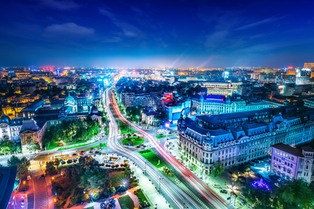 Photo pour the skyline of bucharest at night - image libre de droit