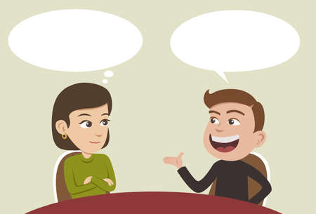 Illustration for two business people having a conversation and man explaining something - Royalty Free Image