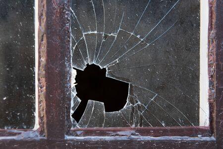 Foto de Close-up of old broken window glass in frame - Imagen libre de derechos