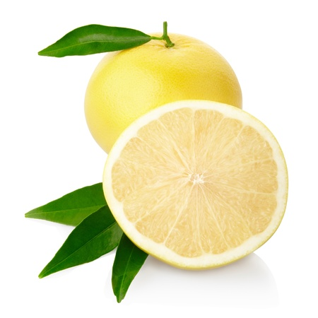 Foto de Yellow grapefruit isolated, clipping path included - Imagen libre de derechos