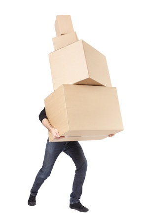 Photo for Moving day, man lifting cardboard boxes on white with clipping path - Royalty Free Image