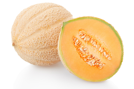 Photo pour Cantaloupe melon and half on white, - image libre de droit