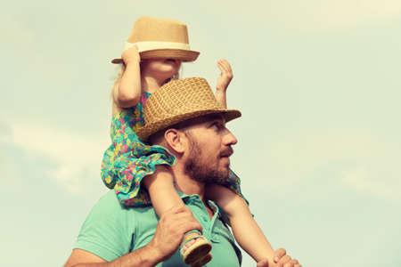 Foto de Happy father and daughter having fun together, family time concept - Imagen libre de derechos