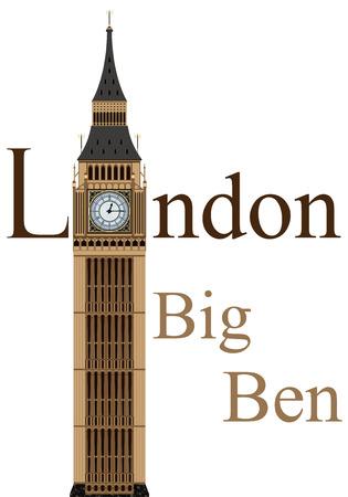 Ilustración de Big Ben tower illustration, isolated on white background, vector - Imagen libre de derechos