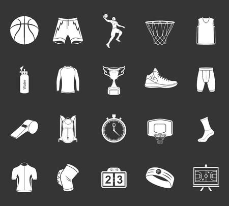 Basketball icon set - stock vector. Large set of symbols, logos and icons of basketball. Sports equipment, protection, trackers, silhouettes of players, uniforms, clothing and shoes.