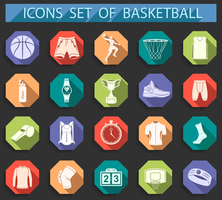 Basketball icon set - stock vector. Large set of symbols,  and icons of basketball. Sports equipment, protection, trackers, silhouettes of players, uniforms, clothing and shoes.
