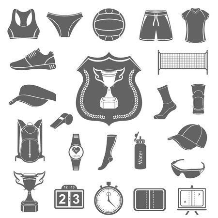 Volleyball icon set - stock vector. Large set of symbols, and icons of volleyball. Sports equipment, protection, trackers, silhouettes of players, uniforms, clothing and shoes.