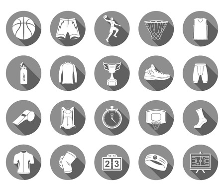 Basketball icon set - stock vector. Large set of symbols, icons of basketball. Sports equipment, protection, trackers, silhouettes of players, uniforms, clothing and shoes.