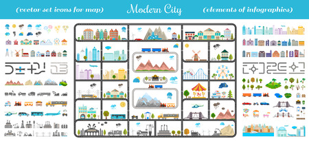 Illustration pour Elements of modern city. Design your own town. Map elements for your pattern, web site or other type of design. - image libre de droit