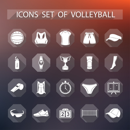 Volleyball icon set - stock vector. Large set of symbols and icons of volleyball. Sports equipment, protection, trackers, silhouettes of players, uniforms, clothing and shoes.