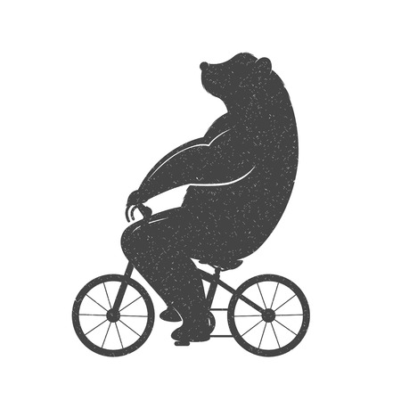Illustration pour Vintage Illustration bear on a bike with Grunge effect. Funny bear ride a bicycle on a white background for posters and T-shirts. - image libre de droit