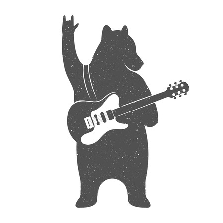 Ilustración de Vintage Illustration bear with guitar - Grunge effect. Funny Bear musician with guitar isolated on white background for posters, T-shirts music clubs and Web music services. - Imagen libre de derechos