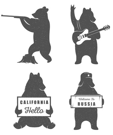 Illustration pour Funny hitchhiking bear with California sign and Russia sign  on a white background for billboards, posters and T-shirts. Vintage Illustration bear hunter and bear guitarist - image libre de droit