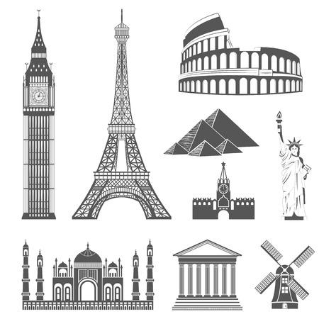 Ilustración de Set of icons on the topic of travel and recreation. Famous international landmarks - Imagen libre de derechos