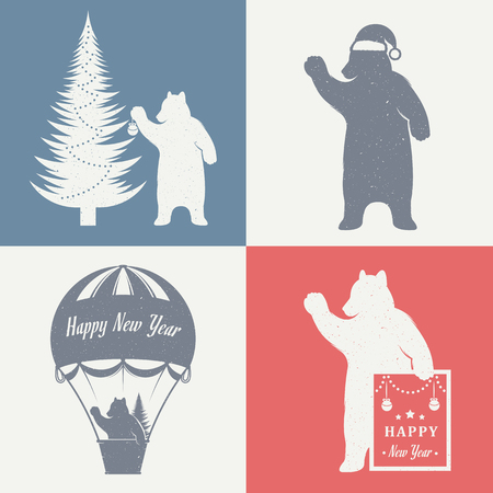 Vintage Christmas and New Year illustration fun bear with grunge effect for posters and t-shirts. Funny bear with Christmas tree, baloon and sign New Year