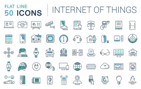 Ilustración de Set vector line icons in flat design internet of things and smart gadgets with elements for mobile concepts and web apps. Collection modern infographic logo and pictogram. - Imagen libre de derechos