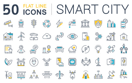 Illustrazione per Set vector line icons in flat design smart city and technology with elements for mobile concepts and web apps. Collection modern infographic logo and pictogram. - Immagini Royalty Free