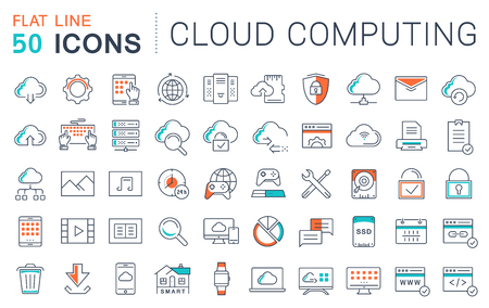 Illustration pour Set vector line icons in flat design with elements cloud computing for mobile concepts and web apps. - image libre de droit