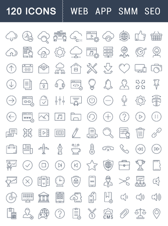 Illustration pour Set vector line icons in flat design smm, cms, seo and ui, ux design with elements for mobile concepts and web apps. Collection modern infographic and pictogram. - image libre de droit