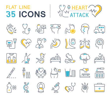 Illustrazione per Set vector line icons, sign and symbols in flat design heart attack with elements for mobile concepts and web apps. Collection modern infographic logo and pictogram. - Immagini Royalty Free