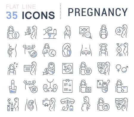 Ilustración de Set of vector line icons of pregnancy for modern concepts, web and apps. - Imagen libre de derechos