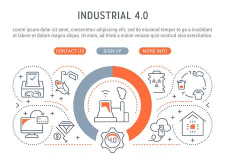 Illustration pour Linear banner of the industrial 4.0. Vector illustration of the industrial revolution. - image libre de droit