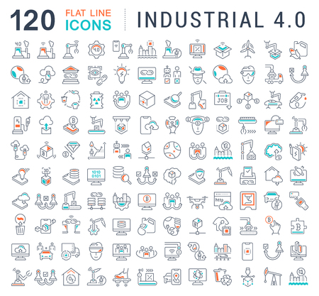 Illustrazione per Set of vector line icons of industrial 4.0 for modern concepts, web and apps. - Immagini Royalty Free
