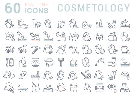 Illustrazione per Set of vector line icons of cosmetology for modern concepts, web and apps. - Immagini Royalty Free