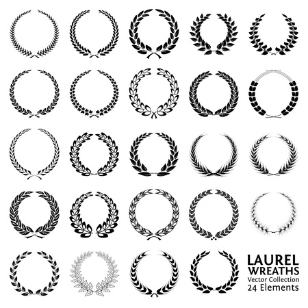 Illustration pour Collection of 24 Laurel Wreaths - image libre de droit