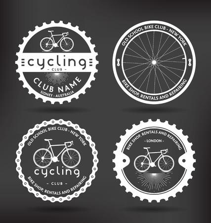 Illustration pour Customizable Retro Cycling Badges - image libre de droit