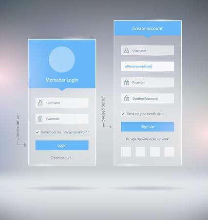 Illustration pour Transparent Member Login Crate Account UI Elements and Web Forms - image libre de droit