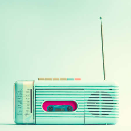 Photo for Vintage turquoise radio cassette player - Royalty Free Image