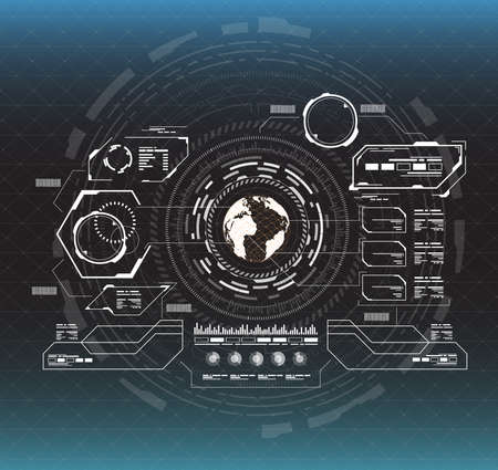 Ilustración de infographic elements. Head-up display elements for the web and app. Futuristic user interface. Virtual graphic. - Imagen libre de derechos