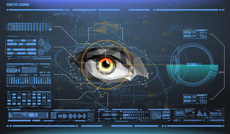 Ilustración de eye in process of scanning. Biometric scan with futuristic HUD interface. Control and security in the accesses. Surveillance system, immersive technology - Imagen libre de derechos