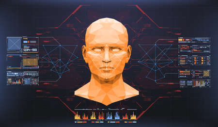 Ilustración de Concept of face scanning. Accurate facial recognition biometric technology and artificial intelligence concept. Face detection HUD interface. - Imagen libre de derechos