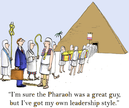 Photo pour I'm sure the Pharaoh was a great guy, but I've got my own leadership style. - image libre de droit
