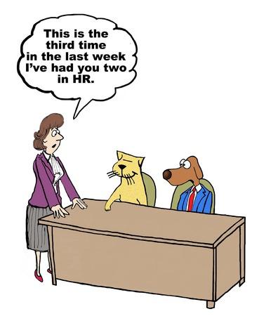 Ilustración de Cartoon of conflict management - Imagen libre de derechos