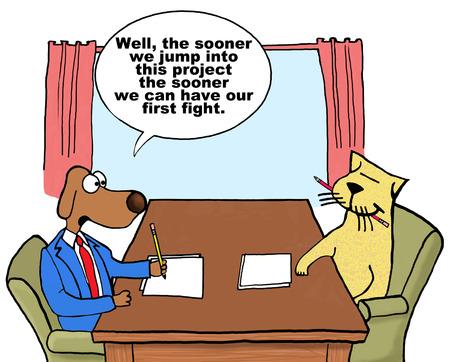 Ilustración de Cartoon on conflict management. - Imagen libre de derechos