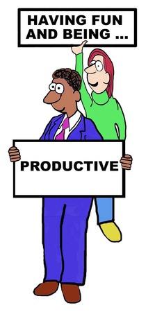 Illustration pour Cartoon of Having Fun and Being Productive - image libre de droit